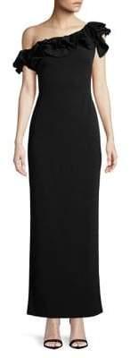 Lauren Ralph Lauren Tiered Ruffle One-Shoulder Gown