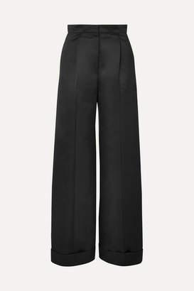 Les Héroïnes The Julia Duchesse-satin Wide-leg Pants - Black