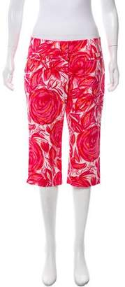 Magaschoni Mid-Rise Printed Cropped Pants