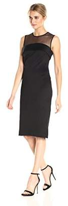 Calvin Klein Women's Sleeveless Illusion Neck Sheath Dress