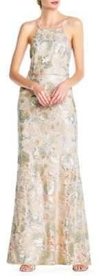Adrianna Papell Sequin Halter Bridesmaid Mermaid Gown