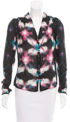 Halston H by Printed Silk Top