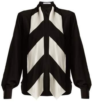 Givenchy - Tie Neck Silk Blouse - Womens - Black White
