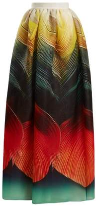 Mary Katrantzou Egret Folk Print Silk Organza Maxi Skirt - Womens - Orange Multi
