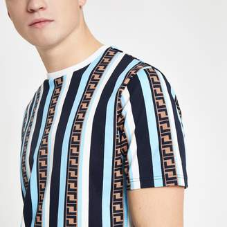 River Island Mens Blue stripe slim fit T-shirt