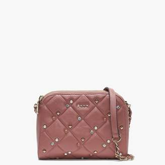 DKNY Barbara Quilted Rose Leather Embellished Cross-Body
