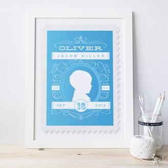 Pepper Pot Studios Personalised New Baby Stamp Print