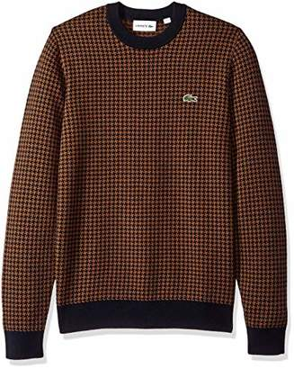 Lacoste Men's Long Sleeve Houndstooth Wool Blend Crewneck
