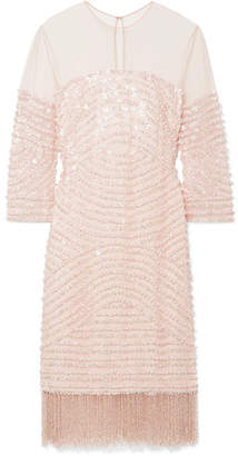 Naeem Khan Embellished Tulle Mini Dress - Pastel pink