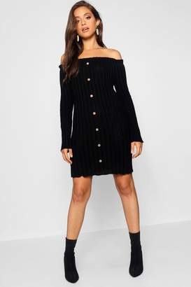 boohoo Off Shoulder Ruffle Button Rib Knitted Dress
