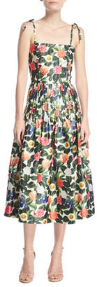 Oscar de la Renta Floral-Print Tie-Straps Midi Dress
