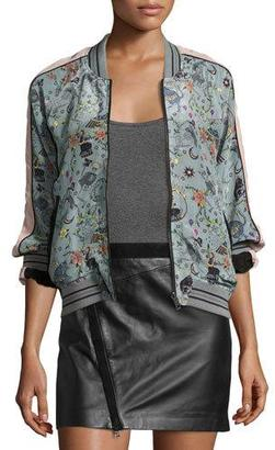 Zadig & Voltaire Billy Circus Reversible Bomber Jacket, Gray $538 thestylecure.com