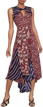 BCBGMAXAZRIA Mixed-Print Asymmetric Sleeveless Midi Dress
