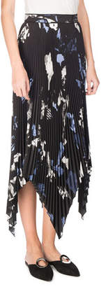 Proenza Schouler Collage Pleated Handkerchief-Hem Midi Skirt, Black/Pale Blue/White