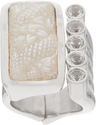 Stephen Dweck Sterling Silver Carved Gemstone Hinged Ring