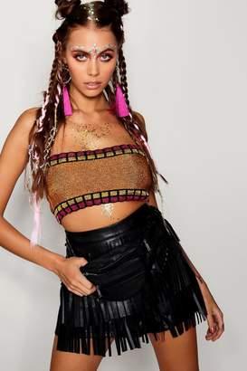 boohoo Metallic Knitted Bandeau Bralet
