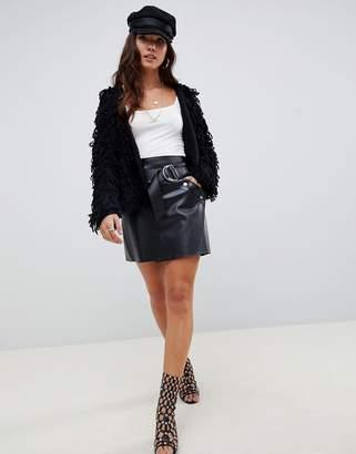 Asos Design DESIGN leather look a-line mini skirt with asymmetric belt