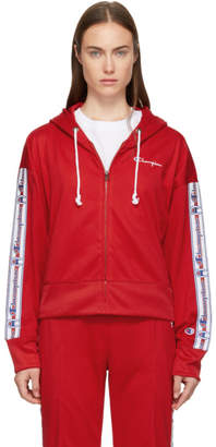 Champion Reverse Weave Red Zip Hoodie