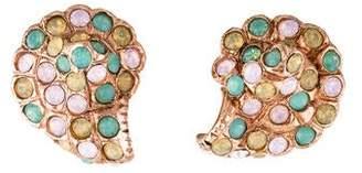 Oscar de la Renta Crystal Seashell Clip-On Earrings