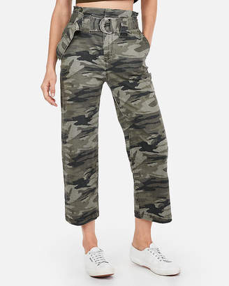 Express Super High Waisted Camo Wide Leg Cropped Pant