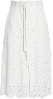 Zimmermann Tie-Front Broderie Anglaise Midi Skirt
