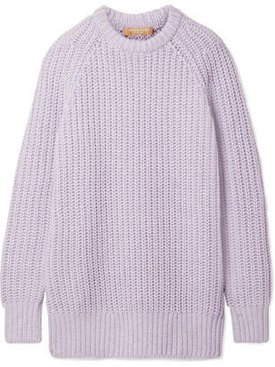 Michael Kors Collection - Ribbed Cashmere And Linen-blend Sweater - Lilac