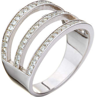 Folli Follie Fashionably sterling silver 3 row crystal ring