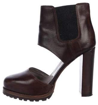 Brunello Cucinelli Leather Cut-Out Ankle Boots Brown Leather Cut-Out Ankle Boots