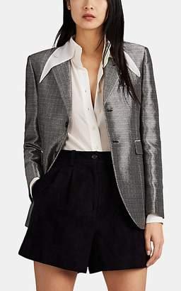 Saint Laurent Women's Metallic Two-Button Blazer - Silver