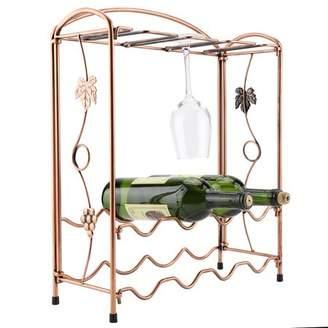 Yosoo 8 Glasses&8 Bottles Metal Wine Rack Display Shelf Stemware Holder Storage Stand Shelf Decor, Red Wine Holder, Red Wine Hanger