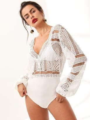 Shein Tassel Tie Back Sheer Guipure Lace Bodice Bodysuit without Bra