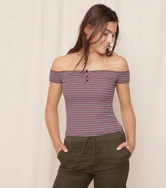 Garage Henley Off-The-Shoulder Top
