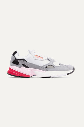 adidas Falcon Mesh, Suede And Leather Sneakers - Light gray