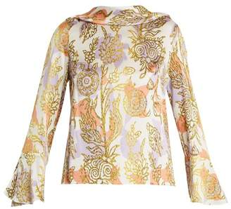 Peter Pilotto Roll Neck Floral Print Silk Blouse - Womens - Orange White