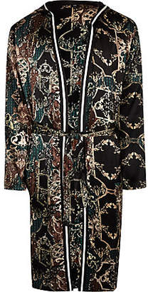 River Island Green baroque print sateen dressing gown
