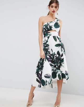 ASOS Palm Print One Shoulder Scuba Dip Back Prom Dress $103 thestylecure.com