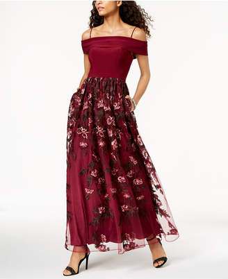 Night Way Nightway Off-The-Shoulder Embroidered Gown