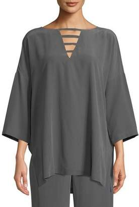 Go Silk Silk Crepe Open-Detail Top, Petite