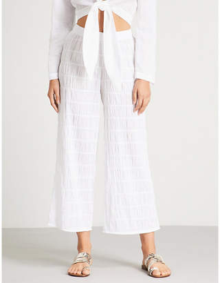 Prism Athens wide-leg cropped stretch-cotton trousers
