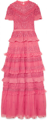 Needle & Thread Iris Ruffled Embroidered Tulle Gown - Bright pink