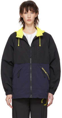 Opening Ceremony Black and Purple Crinkle Storm Jacket