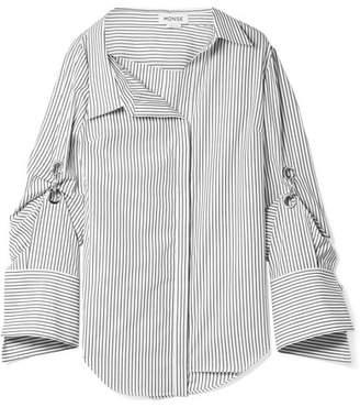 Monse Oversized Embellished Striped Cotton-poplin Shirt - White