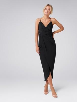 Forever New Charlotte Drape Maxi Dress - Black - 4