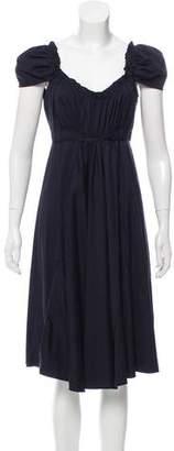 Miu Miu Ruffle-Trimmed Midi Dress