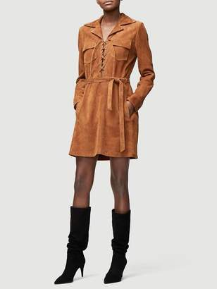 Frame Lace Up Suede Dress