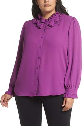 Halogen Ruffle Neck Blouse