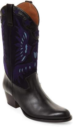 Aquazzura Black & Blue Imperial Cowboy Tall Leather Boots