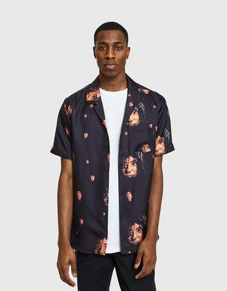 Soulland Zev Silk Shirt in Black Multi