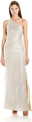Laundry by Shelli Segal Women's One Shoulder Crinkle Foil Gown