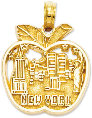 Macy's 14k Gold Charm, Cut-Out New York City Skyline Apple Charm